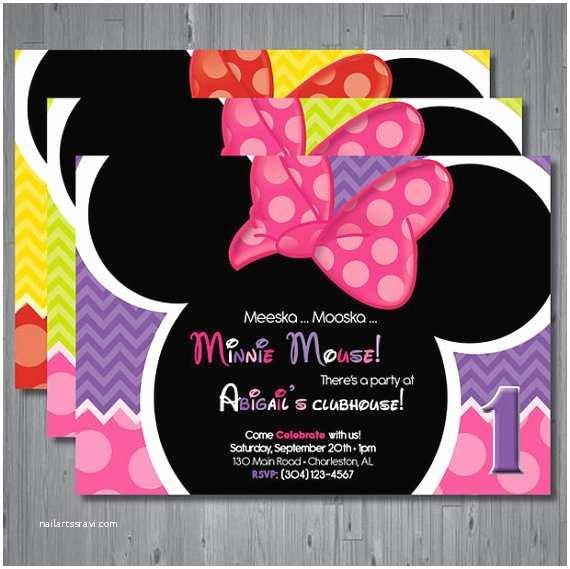 minnie mouse birthday invitation first