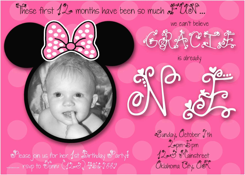 Minnie Mouse 1st Birthday Invitations Minnie Mouse First Birthday Custom Invitation by Chloemazurek
