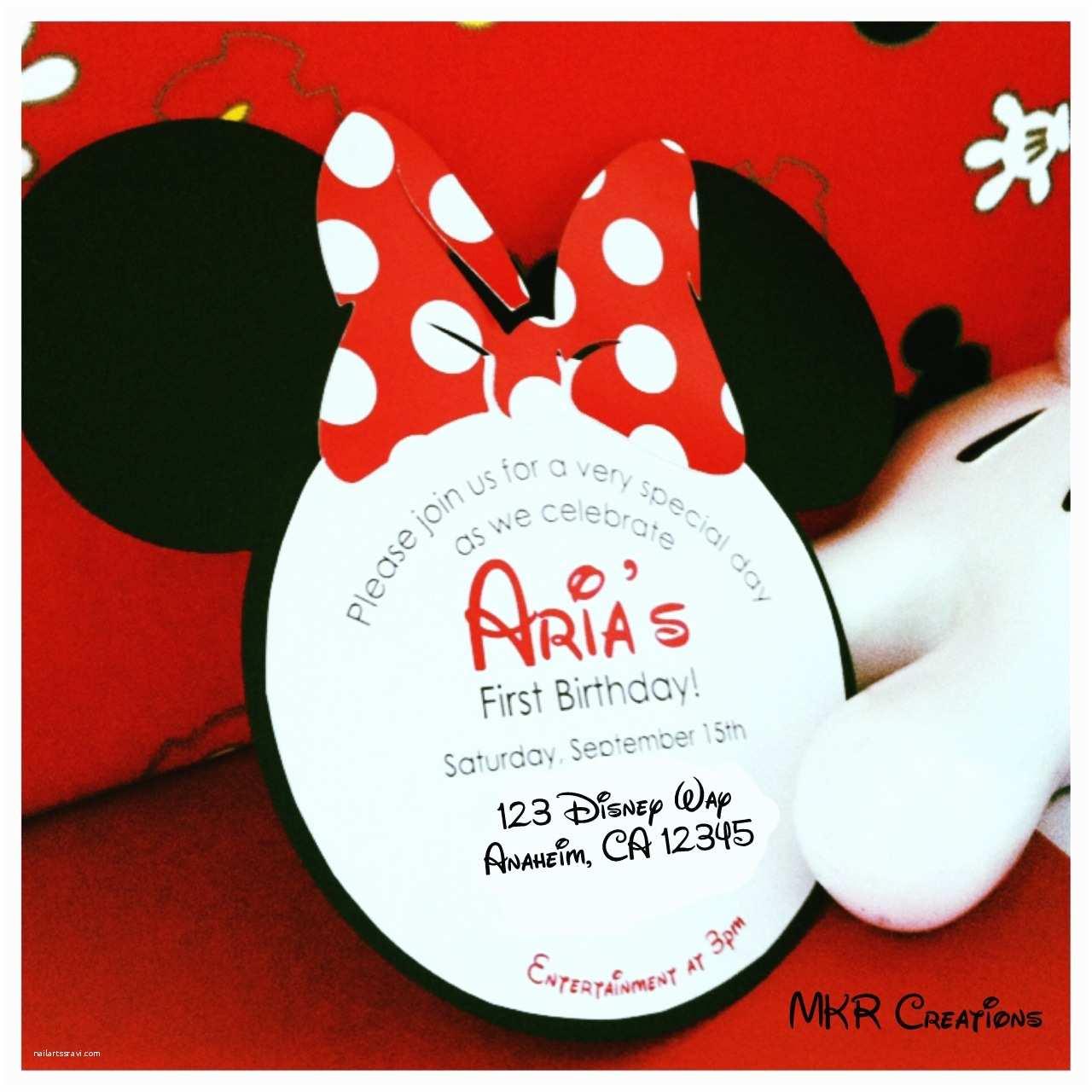 Minnie Mouse 1st Birthday Invitations Mkr Creations Minnie Mouse Invitations