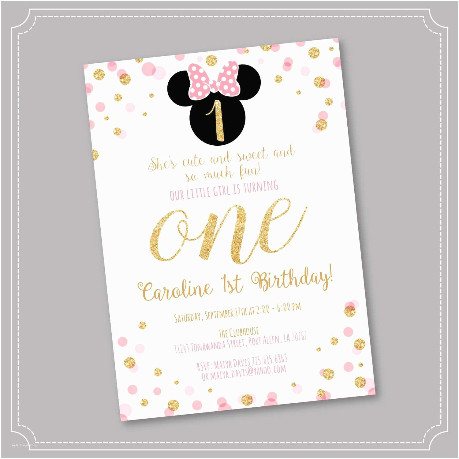 Minnie Mouse 1st Birthday Invitations Off Pink and Gold Minnie Mouse Birthday Party