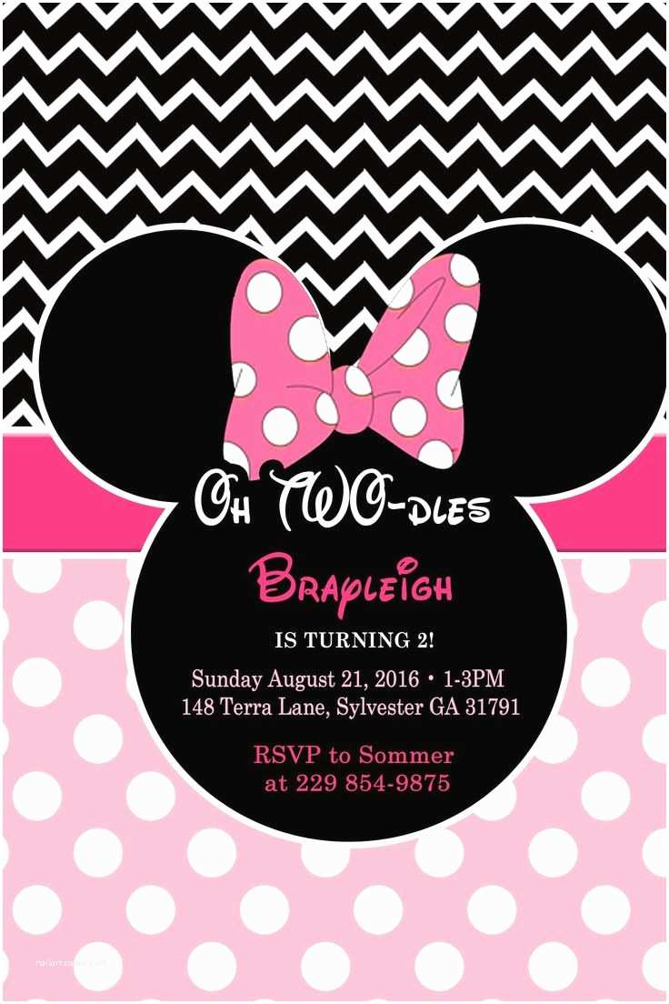 Minnie Mouse 2nd Birthday Invitations Printable Minnie Mouse