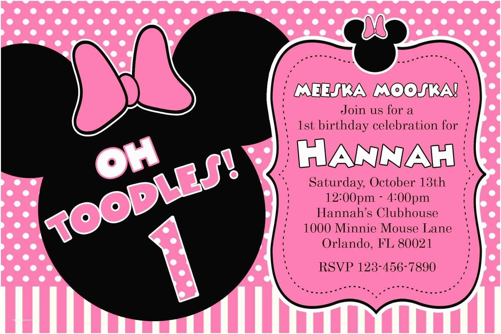 Minnie Mouse 2nd Birthday Invitations Free Printable 1st