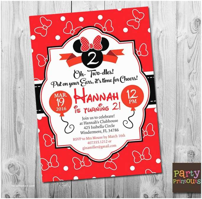 Minnie Mouse 2nd Birthday Invitations Invitation Girl Second