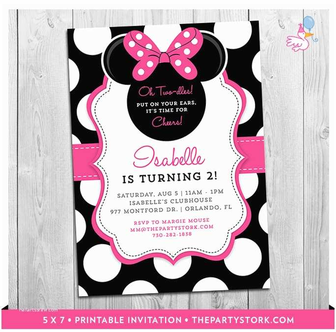 Minnie Mouse 2nd Birthday Invitations Minnie Mouse 2nd Birthday Invitations Printable Girls Party
