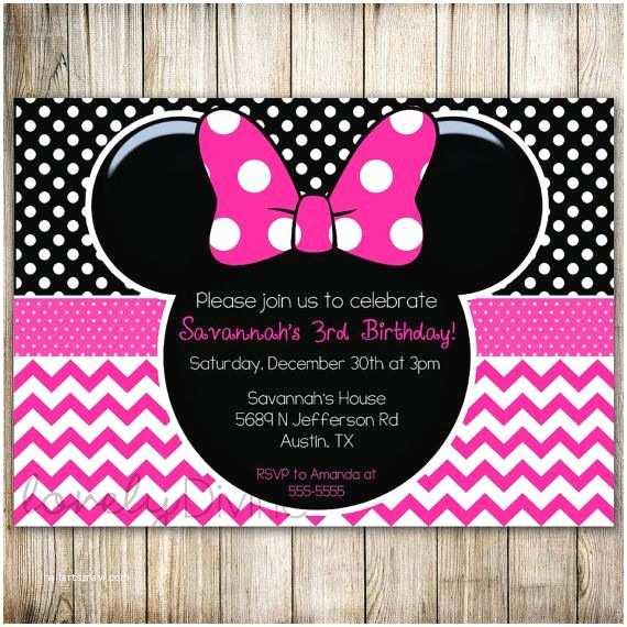 Minnie Mouse 2nd Birthday Invitations Chevron 1st Invitation