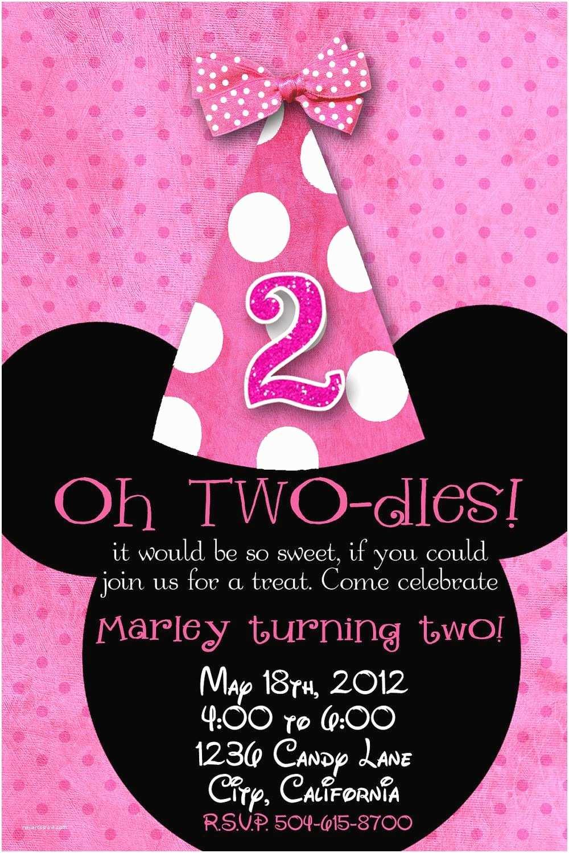 Minnie Mouse 2nd Birthday Invitations Minnie Mouse Custom Birthday Printable Disney Invitations