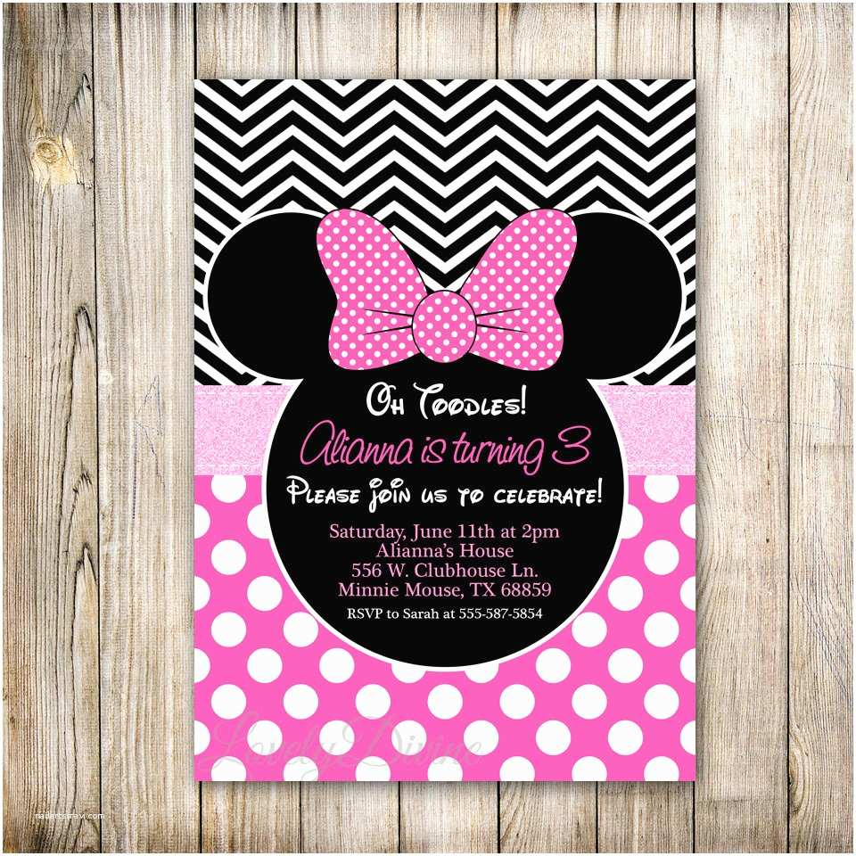 Minnie Mouse 2nd Birthday Invitations Minnie Mouse Invitation Chevron Birthday Invitation Polka