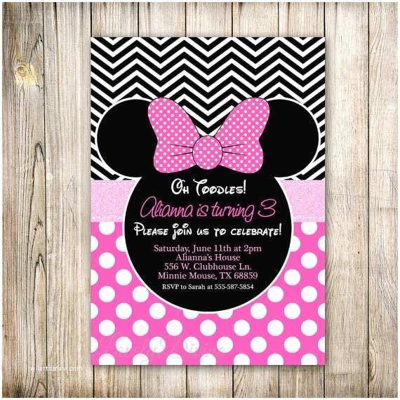 Minnie Mouse 2nd Birthday Invitations Minnie Mouse Invitation Chevron Birthday Invitation Polka