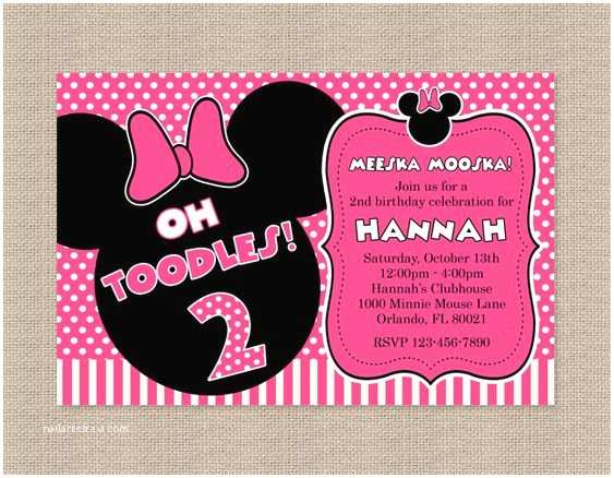Minnie Mouse 2nd Birthday Invitations Pink Polka Dot Minnie Mouse Birthday Party Invitation