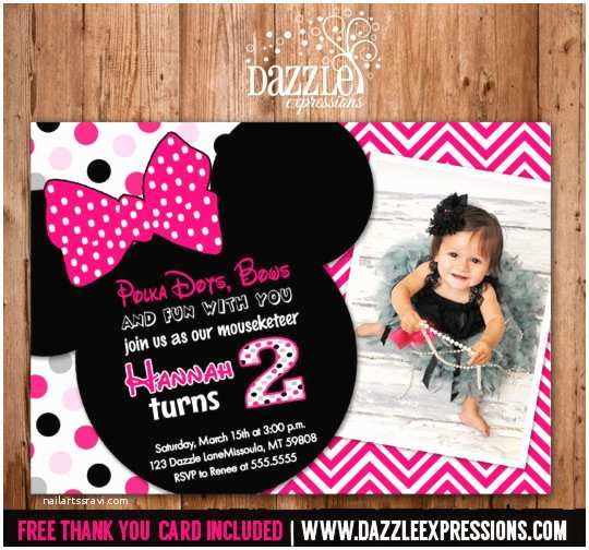 Minnie Mouse 2nd Birthday Invitations Printable Invitation Girls First
