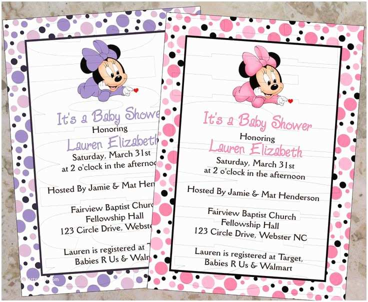 Minnie Mouse Baby Shower Invitations 17 Best Ideas About Minnie Mouse Baby Shower On Pinterest