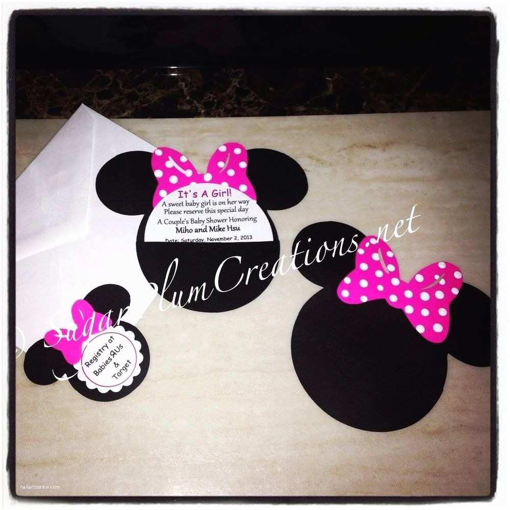 Minnie Mouse Baby Shower Invitations 20 Custom Hand Made Minnie Mouse Baby Shower Invitations