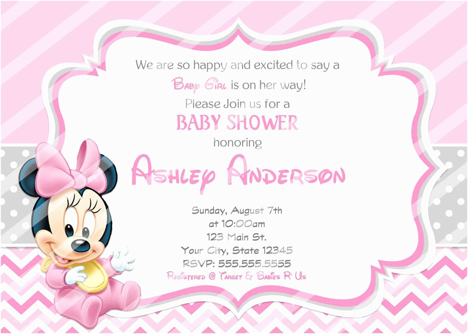 Minnie Mouse Baby Shower Invitations Baby Minnie Mouse Baby Shower Invitations and Similar Items