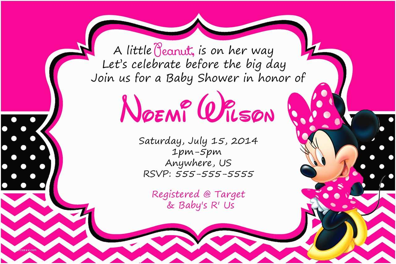 Minnie Mouse Baby Shower Invitations How to Make Minnie Mouse Baby Shower Invitations Templates