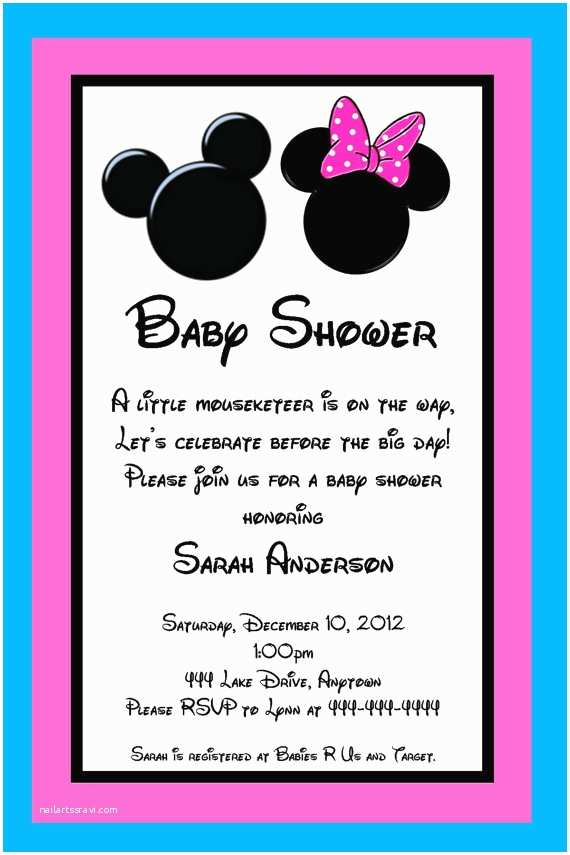 Minnie Mouse Baby Shower Invitations Mickey and Minnie Mouse Inspired Baby Shower Invitation
