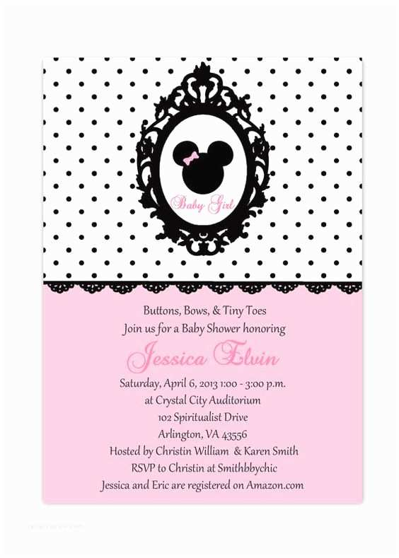 Minnie Mouse Baby Shower Invitations Minnie Mouse Pink Polka Dots Shabby Chic Printable Baby