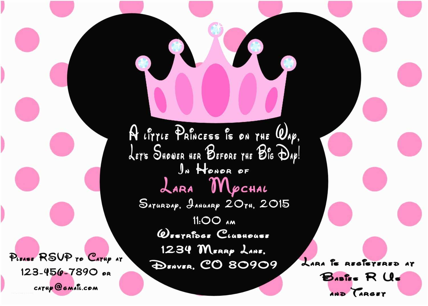 Minnie Mouse Baby Shower Invitations Minnie Mouse Princess Baby Shower Invitation Printed with