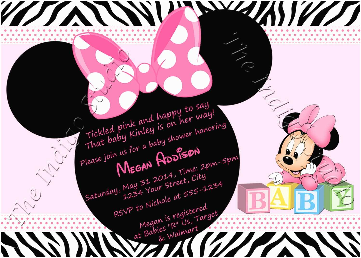 Minnie Mouse Baby Shower Invitations Pink Minnie Mouse Baby Shower Invitations