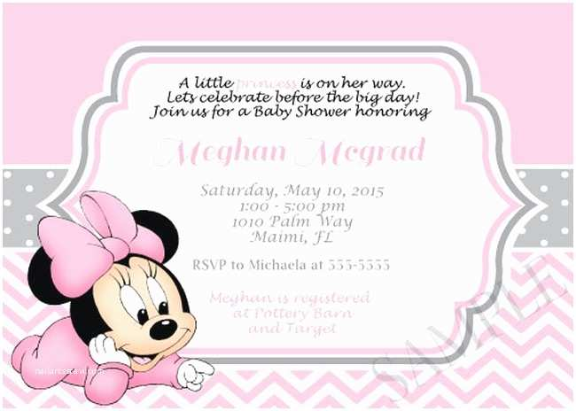 Minnie Mouse Baby Shower Invitations Pink Minnie Mouse Girl Shower Invitation