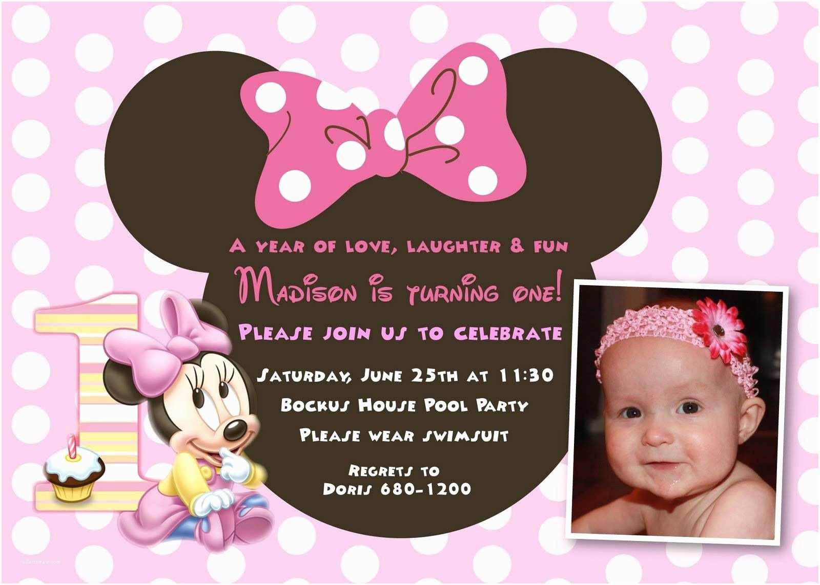 Minnie Mouse Birthday Invitation Cool Minnie Mouse First Birthday Invitations Designs