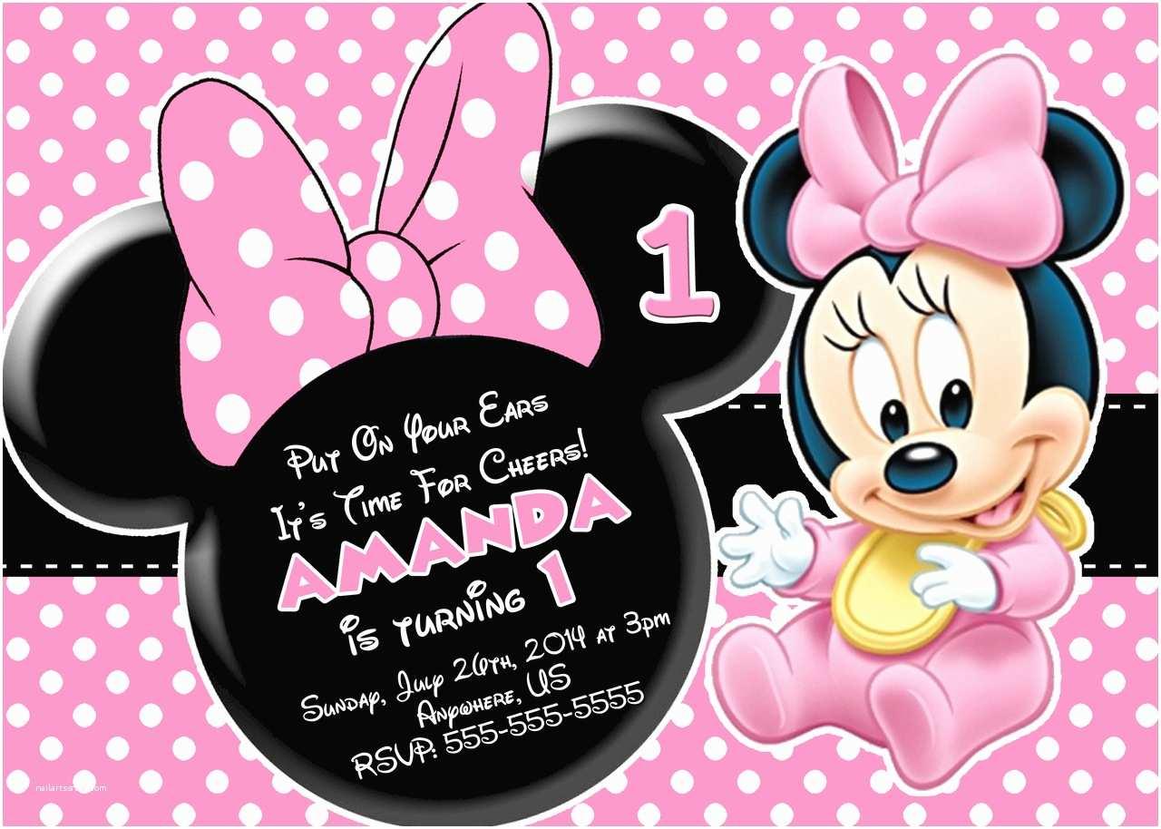 Minnie Mouse Birthday Invitation Free Minnie Mouse First Birthday Invitations Printable