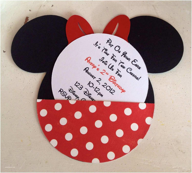 Minnie Mouse Birthday Invitation Handmade Custom Red Minnie Mouse Birthday Invitations Set Of