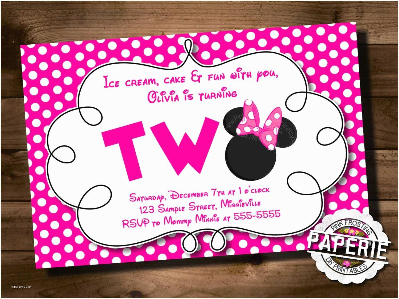 Minnie Mouse Birthday Invitation Pink Polka Dot Minnie Mouse Second Birthday Invitation Minnie