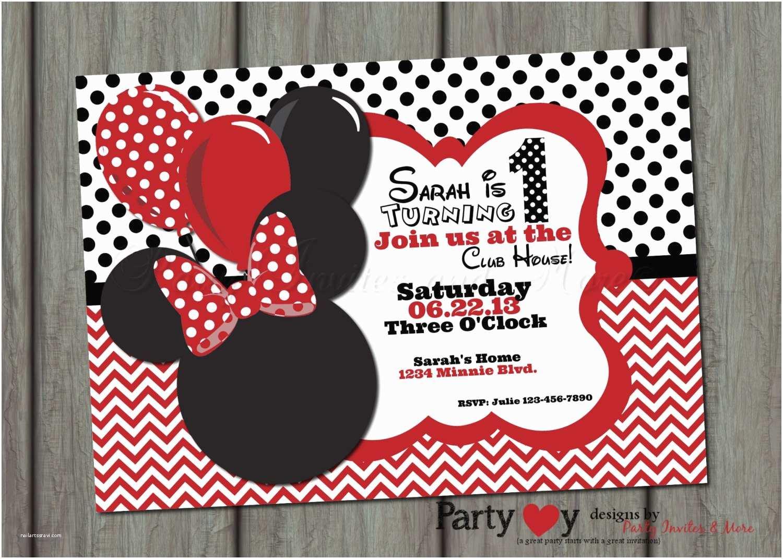 Minnie Mouse Birthday Invitation Red Minnie Mouse Birthday Invitations