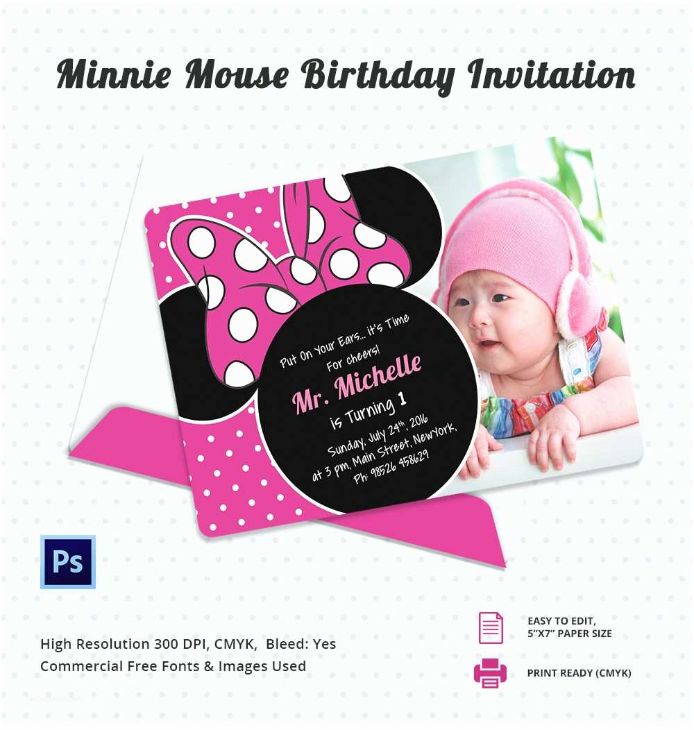 Minnie Mouse Birthday Invitations Awesome Minnie Mouse Invitation Template 27 Free Psd