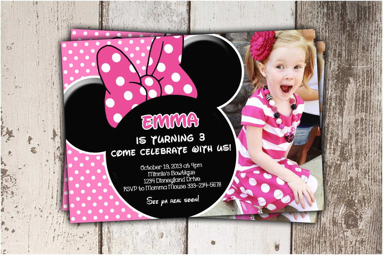 Minnie Mouse Birthday Invitations Minnie Mouse Invitations Pink Birthday Invitations with