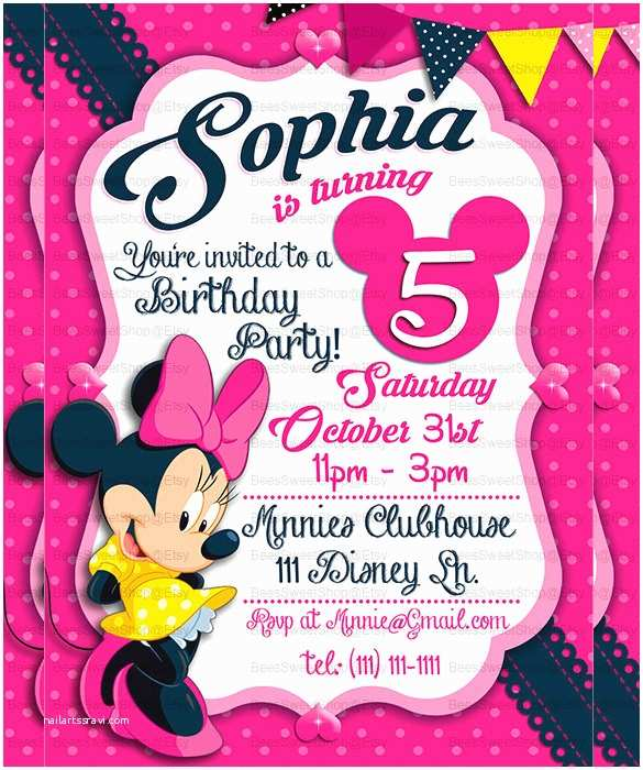 Minnie Mouse Birthday Invitations Personalized 32 Minnie Mouse Birthday Invitation Templates