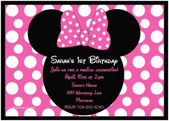 Minnie Mouse Birthday Invitations Personalized Custom Minnie Mouse Birthday Party Invitations
