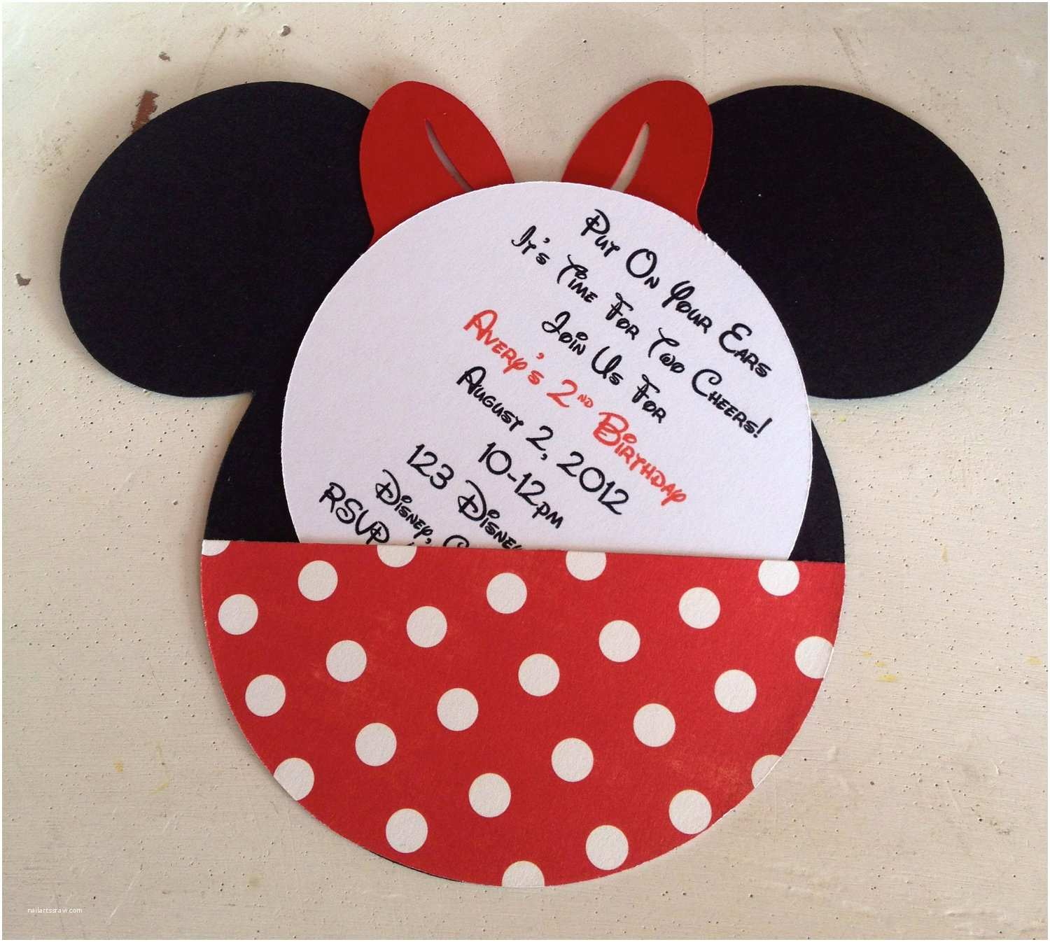Minnie Mouse Birthday Invitations Personalized Handmade Custom Red Minnie Mouse Birthday Invitations Set