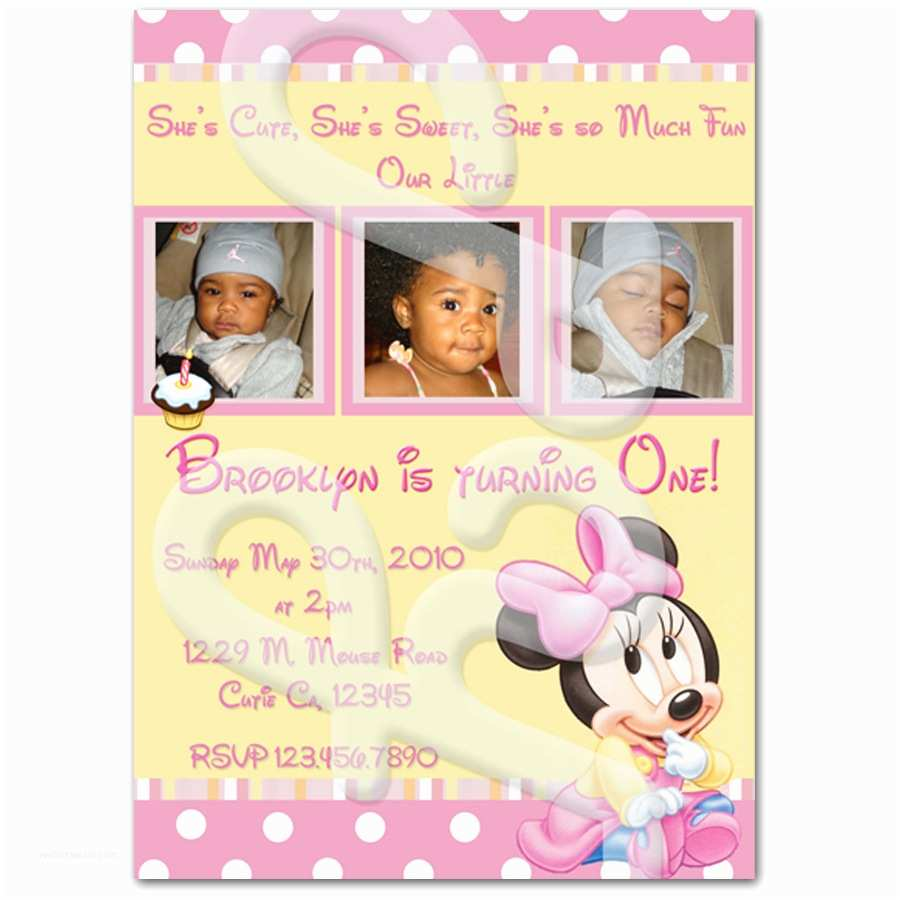 Minnie Mouse Birthday Invitations Personalized Minnie Mouse 1st Birthday Personalized Invitations