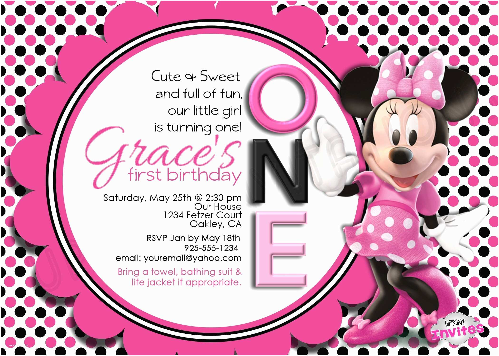 Minnie Mouse Birthday Invitations Personalized Minnie Mouse Birthday Card Lovely Minnie Mouse
