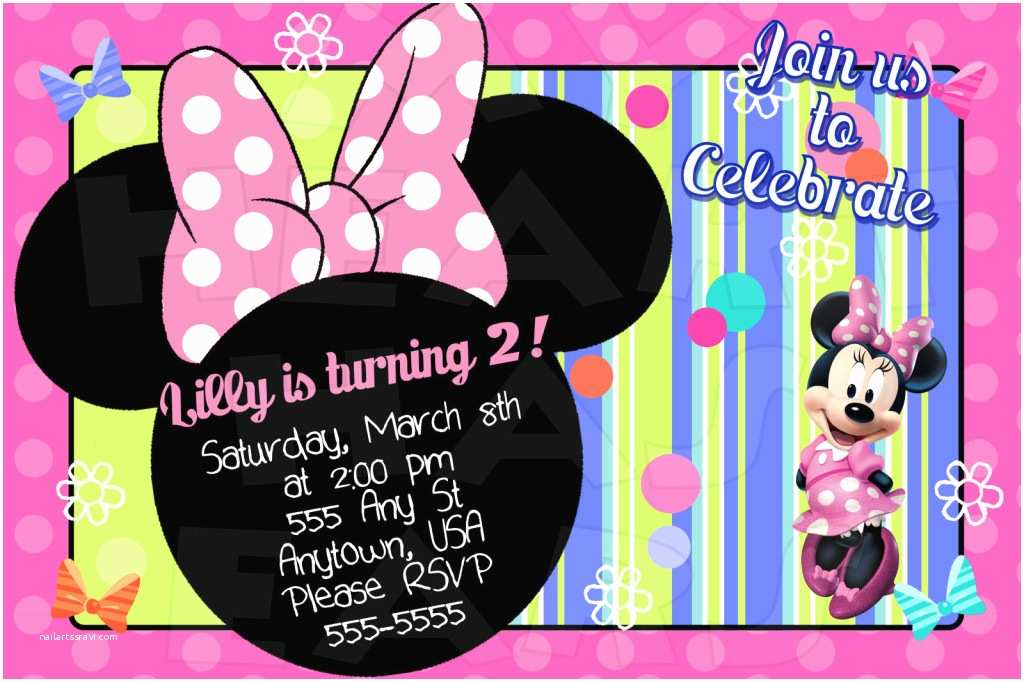 Minnie Mouse Birthday Invitations Personalized Minnie Mouse Birthday Custom Digital Invitation