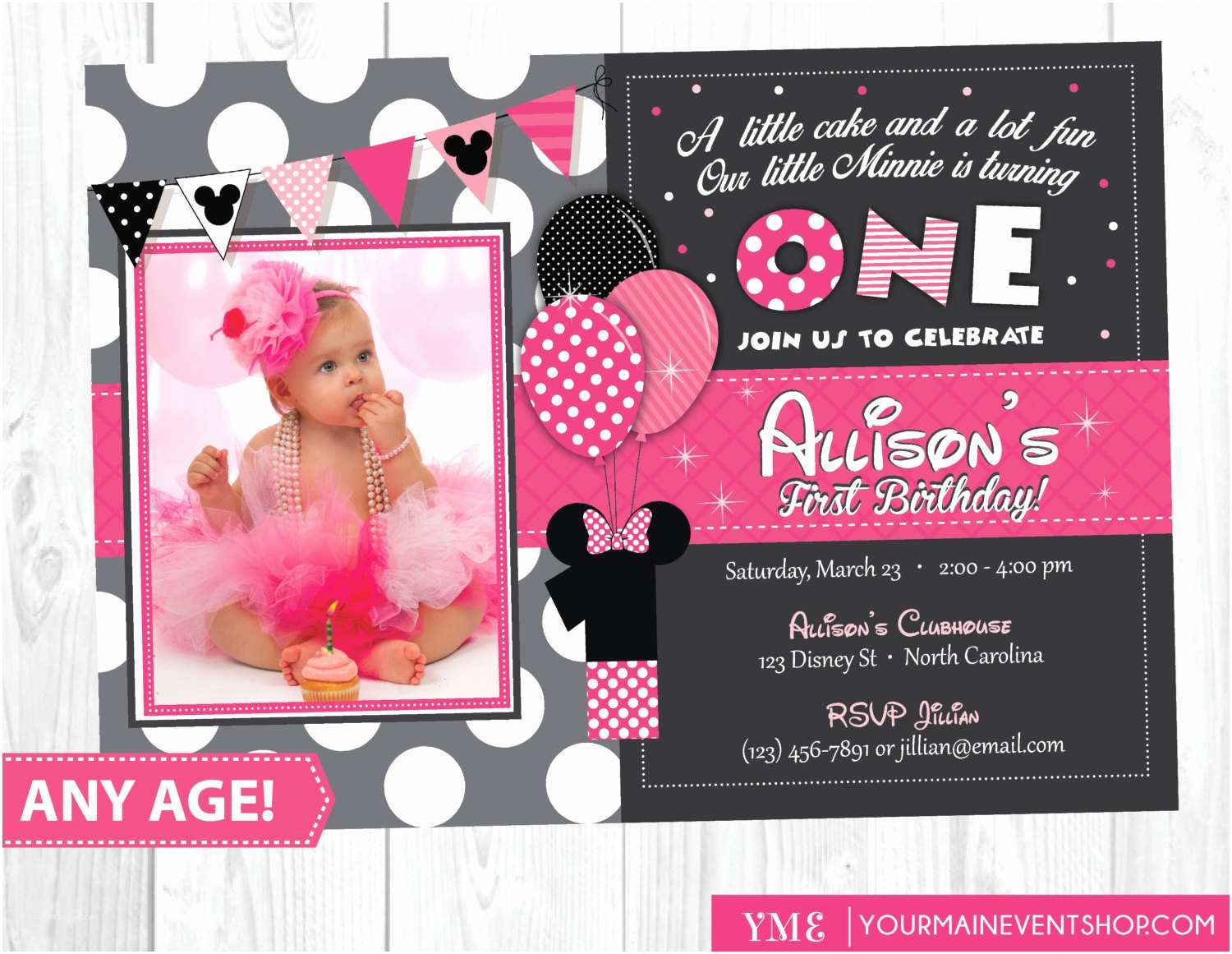Minnie Mouse Birthday Invitations Personalized Minnie Mouse Birthday Invitation Minnie Mouse