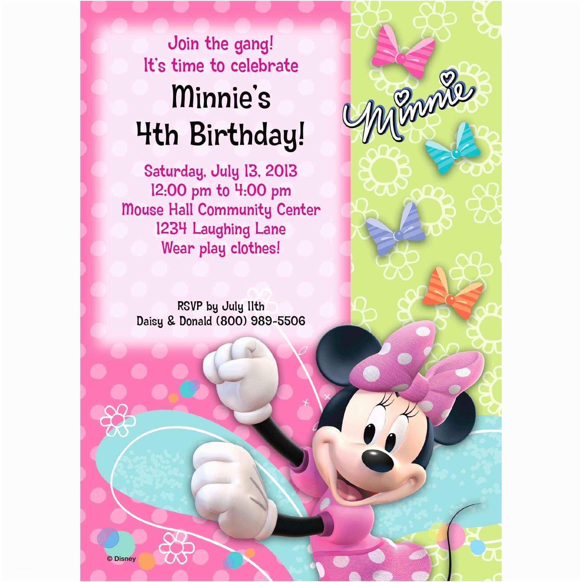 Minnie Mouse Birthday Invitations Personalized Minnie Mouse Birthday Party Supplies Theme Party