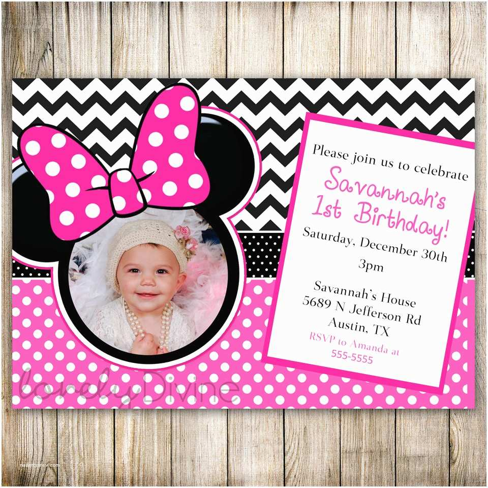 Minnie Mouse Birthday Invitations Personalized Minnie Mouse Chevron Birthday 1st Birthday Invitation