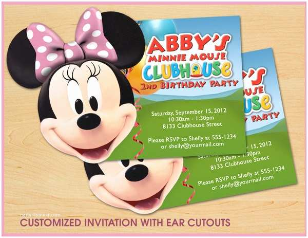 Minnie Mouse Birthday Invitations Personalized Minnie Mouse Clubhouse Birthday Invitations Custom