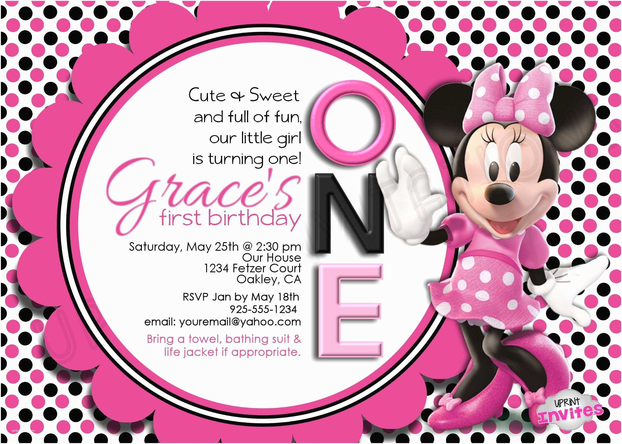 Minnie Mouse Birthday Invitations Personalized Invitation