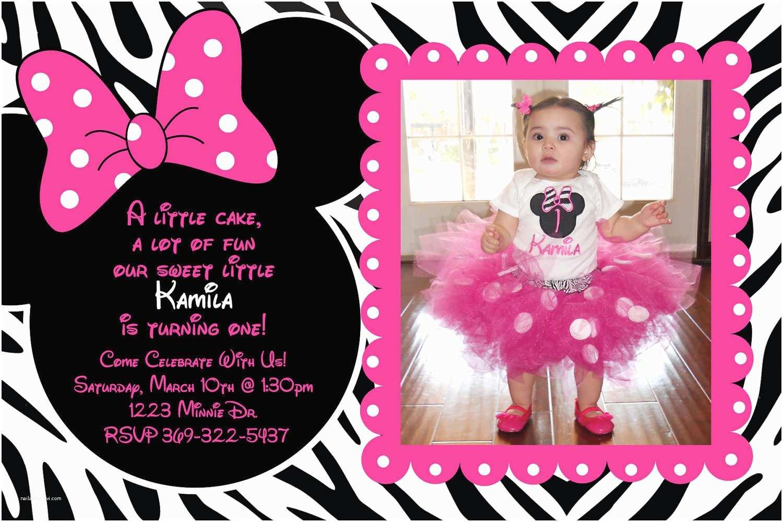 Minnie Mouse Birthday Invitations Personalized Minnie Mouse Zebra Birthday Party Custom