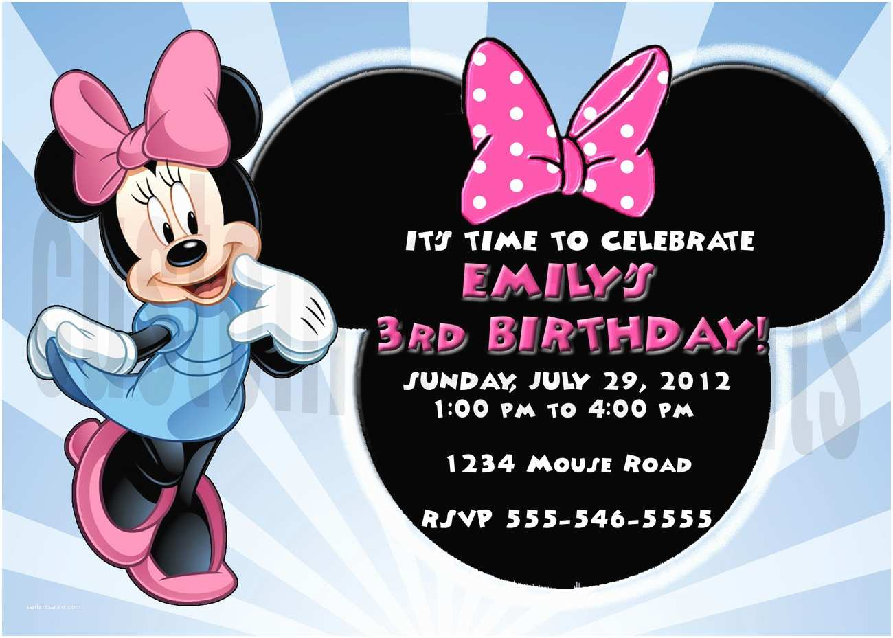 Minnie Mouse Birthday Invitations Personalized Personalized Minnie Mouse Birthday Invitation Digital