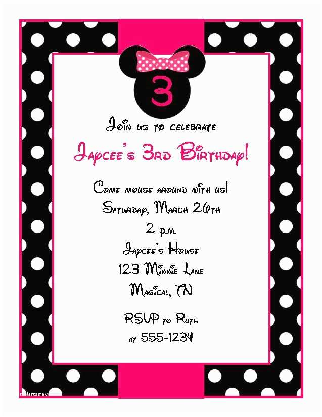 Minnie Mouse Birthday Invitations Personalized Personalized Minnie Mouse Birthday Party Invitations