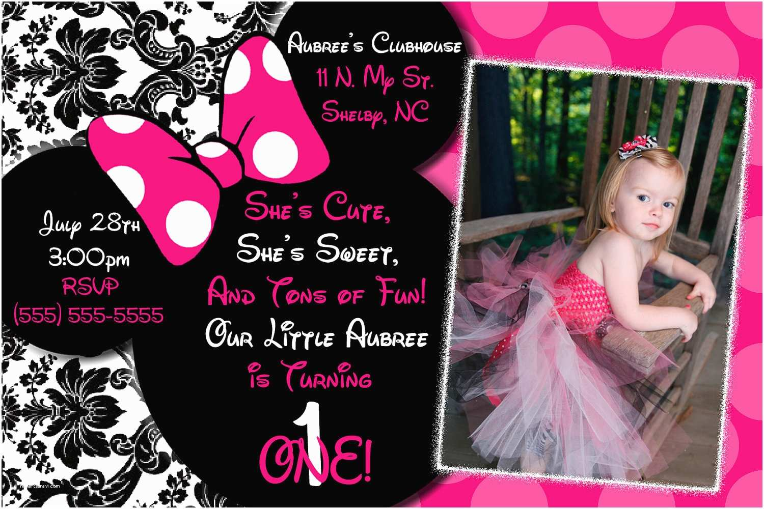 Minnie Mouse Birthday Invitations Personalized Personalized Minnie Mouse Invitations Template