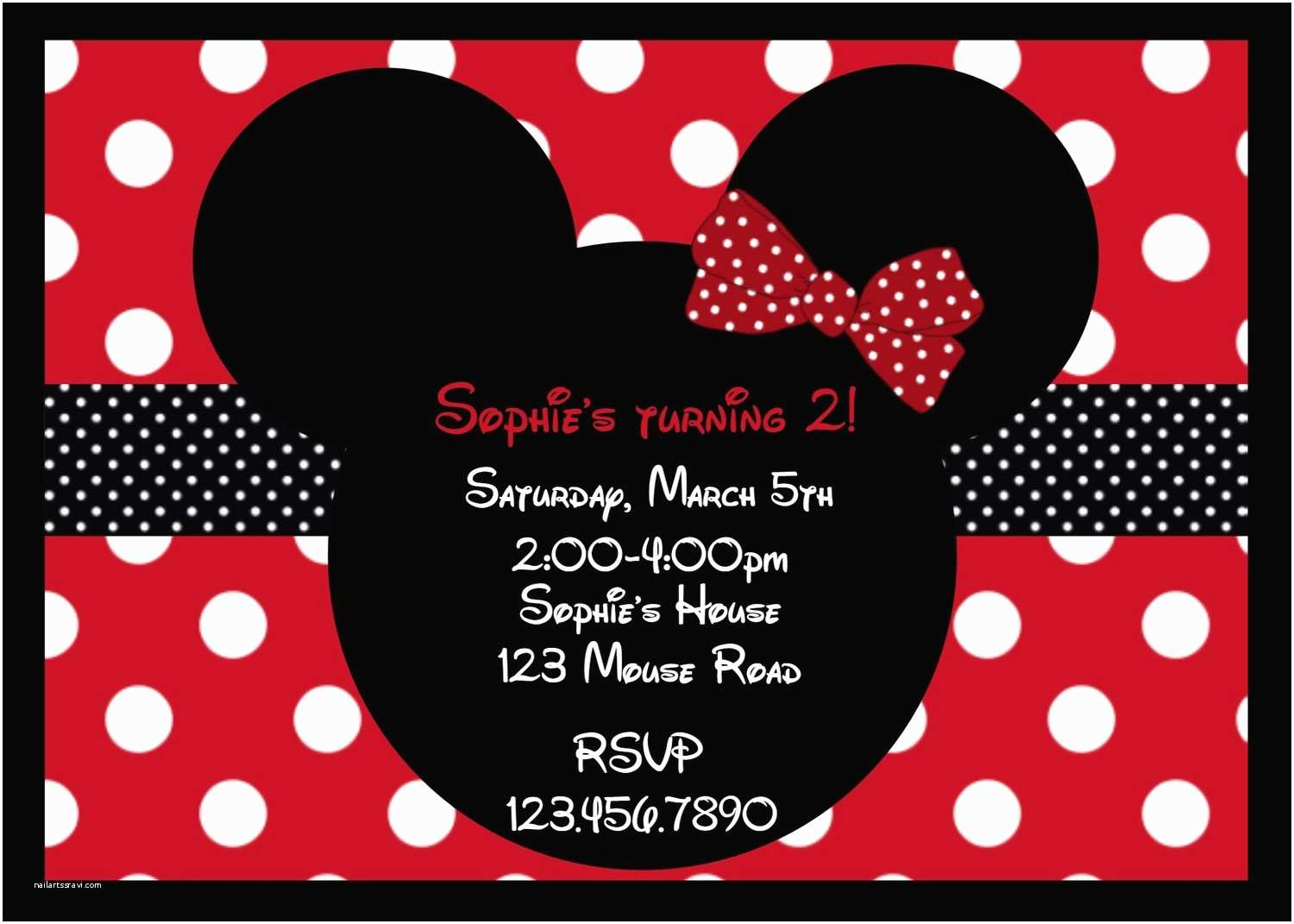 Minnie Mouse Birthday Invitations Personalized Printable Girls Party