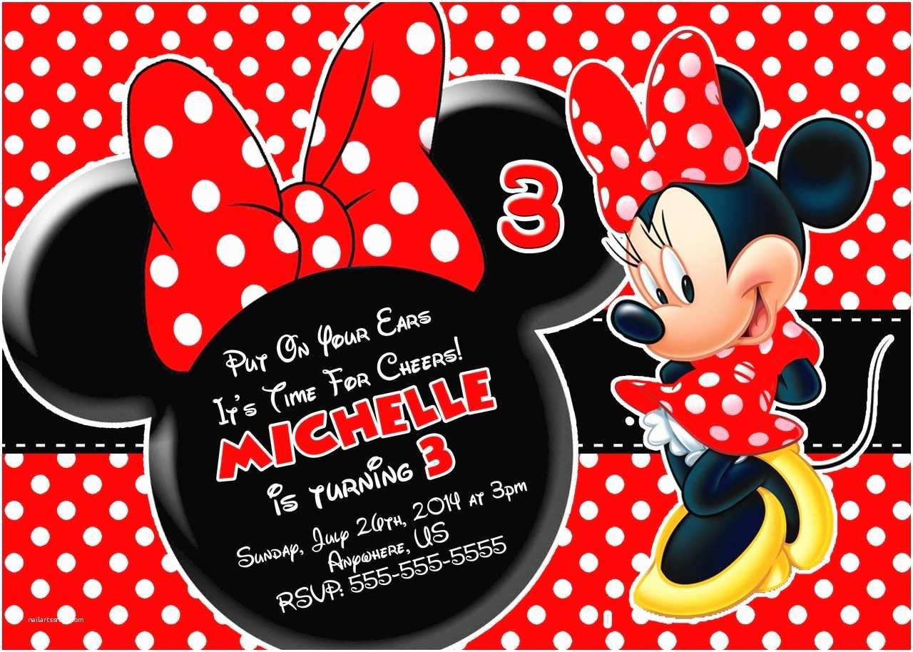 Minnie Mouse Birthday Invitations Red Minnie Mouse Birthday Invitations