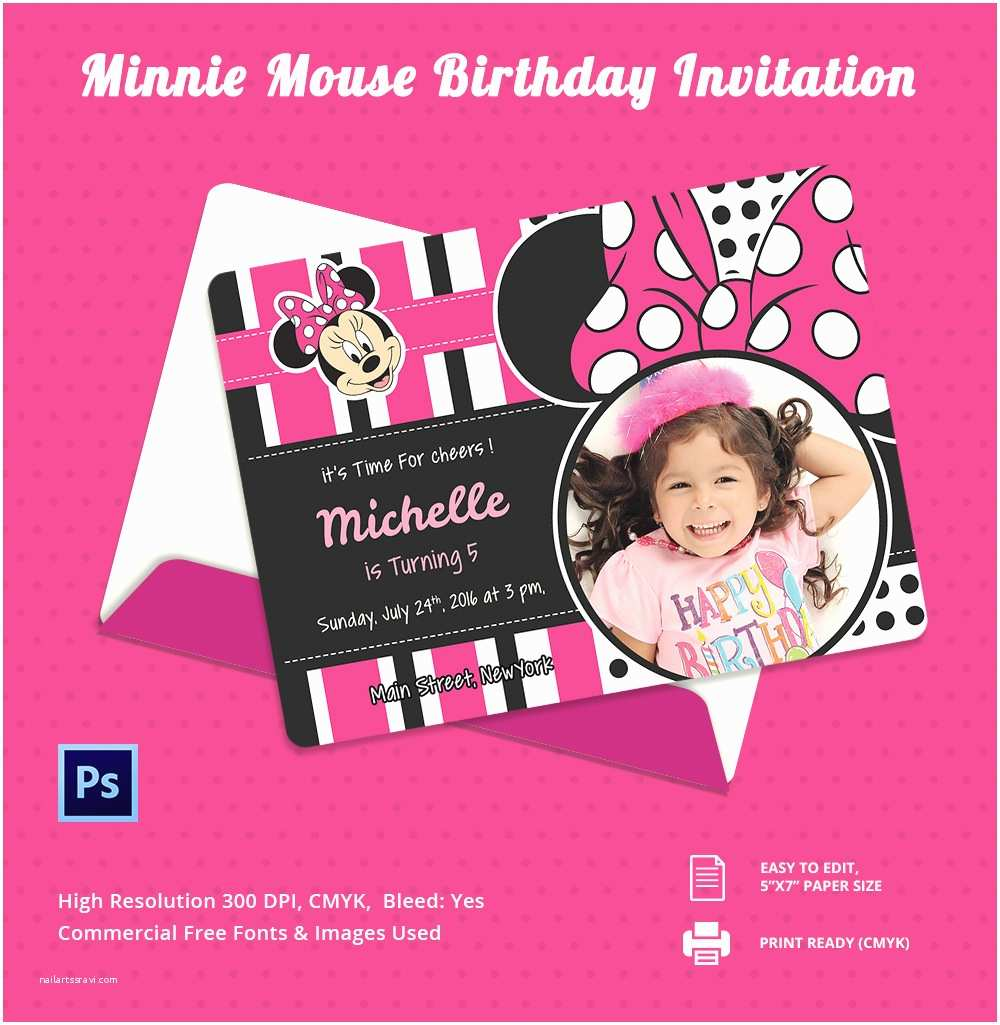 Minnie Mouse Birthday Party Invitations 12 Invitation Template Free Psd