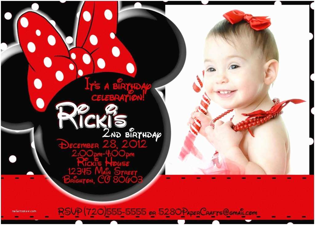 Minnie Mouse Birthday Party Invitations 1st Ideas Bagvania