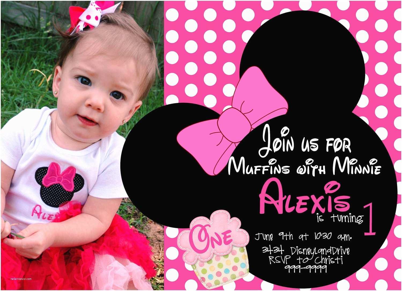 Minnie Mouse Birthday Party Invitations Minnie Mouse First Birthday Invitations